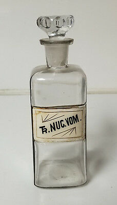 Antique Apothecary Bottle Ground Glass Stopper Rare Tr Nuc Vom