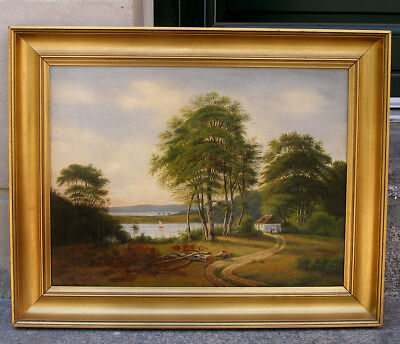 Fine Danish golden age painting. Landscape by fjord.  1840s.