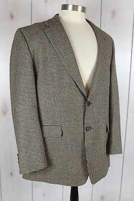Lauren Ralph Lauren Houndstooth Black Tan Wool Blazer Sportcoat Jacket Mens 44R