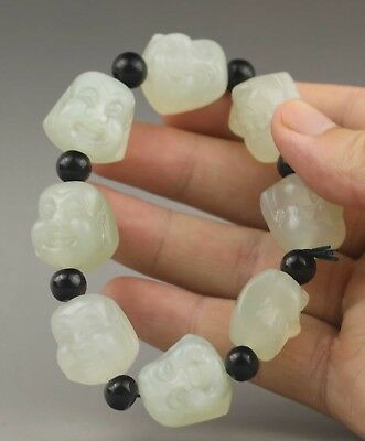 China natural jade bangle Chinese natural jade buddha beads Bracelet