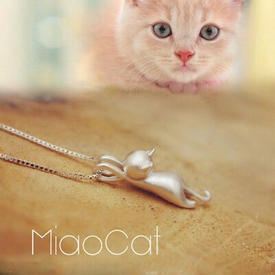 925 Sterling Silver Love Cute Cat Kitty Pendant Necklace Birthday Gift