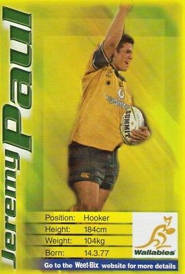 Weet-Bix Wallabies Trading Card Jeremy Paul