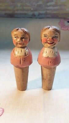 Collectable German Hand Carved Wooden Bottle Stoppers Corks x2 (Girls Heads)