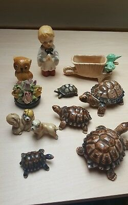 Misc Job Lot of 11 Old Ornamental Collectables, Porcelain, Wade, Sylvac Etc