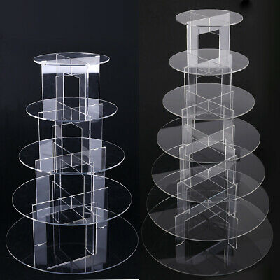 5 and 7 Tier Circle Acrylic Cupcake Party Wedding Cake Stand Holder Display