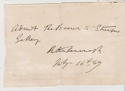 ARTHUR KAVANAGH (1831-1889) Limbless Politician---AUTOGRAPH NOTE SIGNED 1869