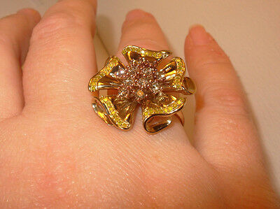 1.50Ctw Genuine Champagne & Yellow Diamond Flower Ring Yellow Gold/sterling