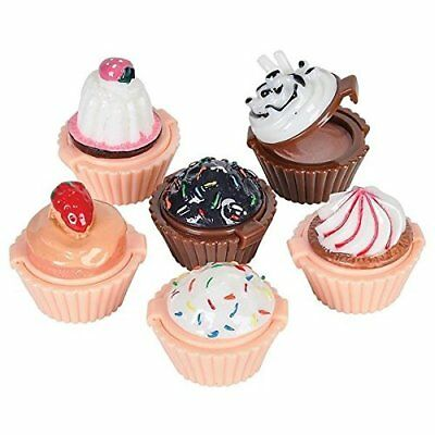 Lip Gloss Cupcake Shape - 12 Pack Assorted Designs In Colorful Box, Girls Party
