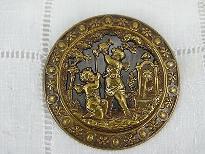 Beautiful Antique French Large Brass/Metal Picture Button -Angels Putti Fountain