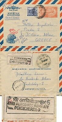 India - Pondicherry1969, Scarce Registered Air Letter To Greece.  #d1377
