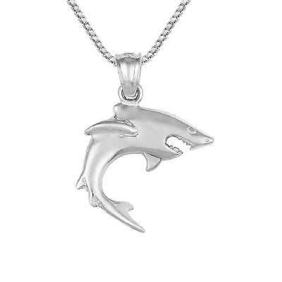 """Sterling Silver SHARK Pendant / Charm, Made in USA, 18"""" Italian Box Chain"""