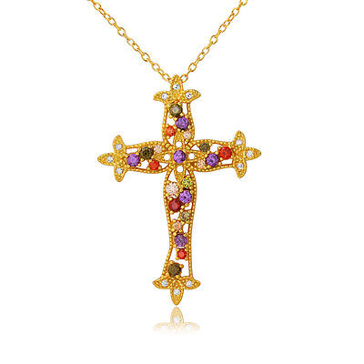 Sterling Silver Gold Plated Necklace w/ Multi Color CZ Stones Cross Pendant