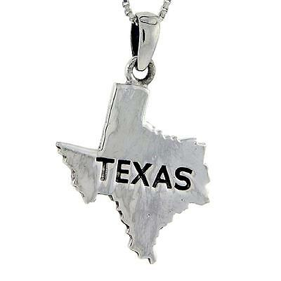 """Sterling Silver Texas State Map Pendant / Charm, 18"""" Italian Box Chain"""