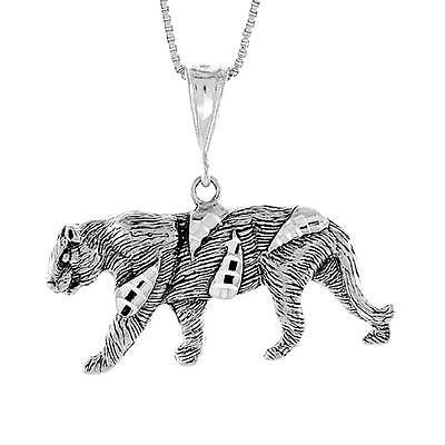 """Sterling Silver TIGER Large Pendant / Charm, 18"""" Italian Box Chain"""