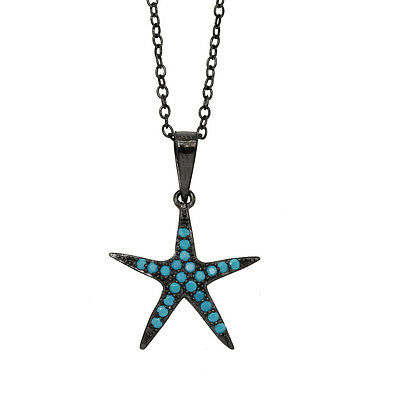 Sterling Silver Black Rhodium Plated Necklace Turquoise Stones Starfish Pendant