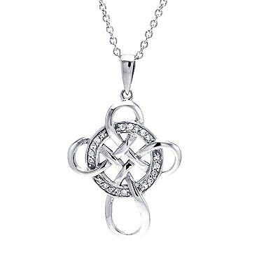 Sterling Silver Rhodium Plated Necklace w/ CZ Stones Celtic Cross Pendant