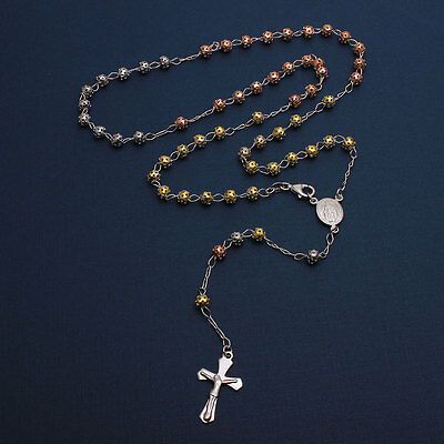 Sterling Silver 3 Toned 5mm Bead Rosary Necklace w/ Religious Charm & Drop Cross