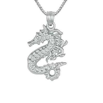 """Sterling Silver SEAHORSE Pendant / Charm, Made in USA, 18"""" Italian Box Chain"""