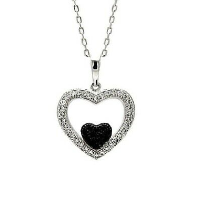 Sterling Silver Necklace w/ Black & Clear CZ Stones Double Heart Pendant