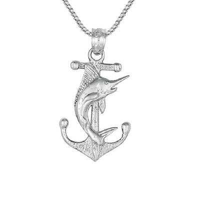 """Sterling Silver ANCHOR w/ MARLIN Pendant / Charm, Made in USA, 18"""" Box Chain"""