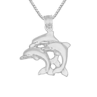 """Sterling Silver Triple Dolphins Pendant / Charm, Made USA, 18"""" Italian Box Chain"""