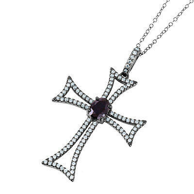 Sterling Silver Black Rhodium Plated Necklace w/ CZ Stones Cross Pendant