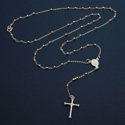 Sterling Silver 3 Toned 2mm Bead Rosary Necklace w/ Religious Charm & Drop Cross