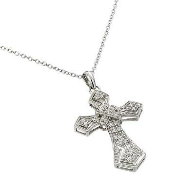 Sterling Silver Rhodium Plated Necklace w/ CZ Stones Filigree Cross Pendant