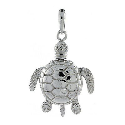 """Sterling Silver Movable Turtle 3D Pendant / Charm, 18"""" Italian Box Chain"""