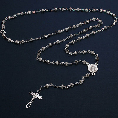 Sterling Silver 4mm Filigree Bead Rosary Necklace w/ Religious Charm & Cross