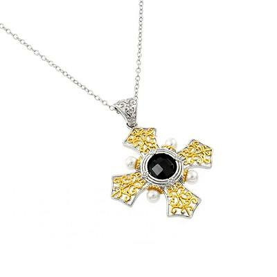 Sterling Silver Rhodium Plated Necklace w/ Black CZ Stone Two Tone Cross Pendant
