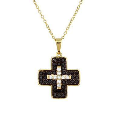 Sterling Silver Gold Plated Necklace w/ Black & Clear CZ Stones Cross Pendant