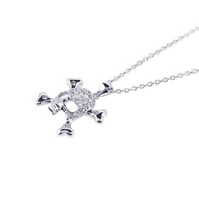 Sterling Silver Rhodium Plated Necklace w/ CZ Stones Skull Pendant