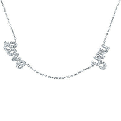 Sterling Silver Rhodium Plated Necklace w/ CZ Stones love you Pendants