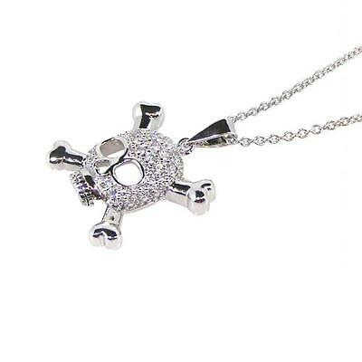 Sterling Silver Necklace w/ CZ Stones Black Rhodium Plated Skull Pendant