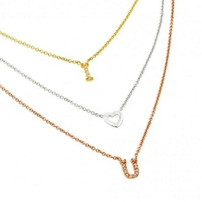 Sterling Silver 3 Color Chains Necklace w/ CZ Stones I Love You Pendants