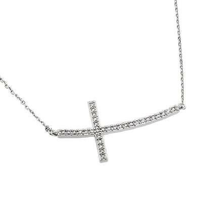 Sterling Silver Rhodium Plated Necklace w/ Sideways CZ Stones Cross Pendant