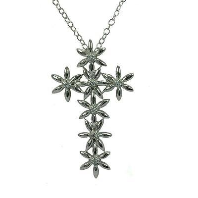 Sterling Silver Rhodium Plated Necklace w/ CZ Stones Flower Cross Pendant