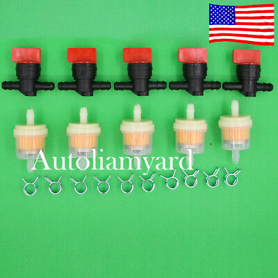"5pcs 1/4"" In Line Fuel Gas Filter Shut Cut Off Valve Clamp For Briggs & Stratton"