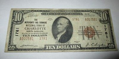 $10 1929 Charlotte North Carolina NC National Currency Bank Note Bill #1781 Fine