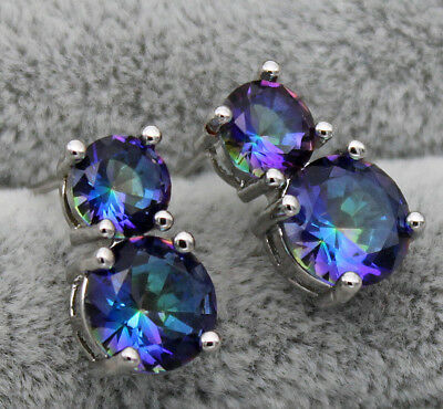 "18K White Gold Filled- 8MM ""8"" Design Blue MYSTICAL Topaz Cocktail Lady Earrings"