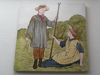 Rare Wedgwood polychrome Months tile - June
