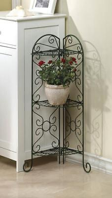 Metal Vintage Style 3-Tier Corner Wrought Iron Plant Stand 3 Shelf Rustic Design