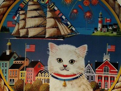 HAPPY 4th OF JULY! Krumeich UNCLE TAD'S HOLIDAY CATS POLLYANNA Perenna Plate