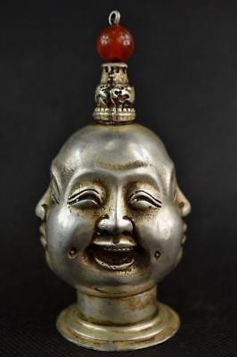 Chinese Old Silver Copper Handwork Carving 4 Face Buddha Snuff Bottle