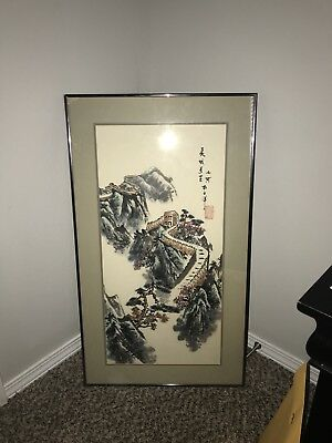 Antique Japanese Watercolor Painting Japanese Scroll Wall Painting Framed 1990's