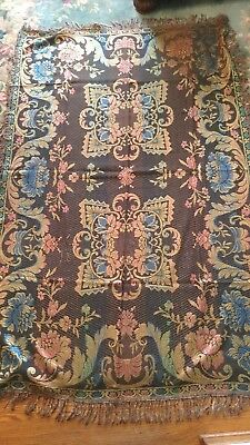 """RARE ANTIQUE-  two sides  TABLECLOTH or COVERLET - 52"""" x 80"""" Made in ITALY"""