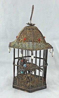 Chinese Export Sterling Silver & Enamel w/Jewels Filigreed Bird Cage w/ Bird -5""
