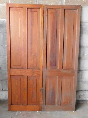Antique Victorian Four Panel Cabinet Doors - C. 1885 Fir Architectural Salvage