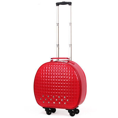 D840 Red European Style Round Shape Draw Bar Trolley Suitcase 20 Inches W